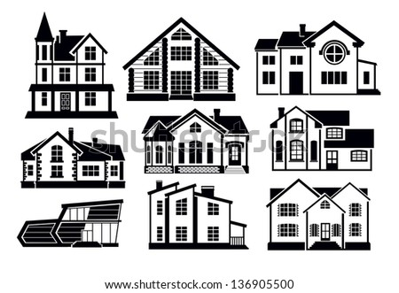 vector black home icons set on white - stock vector