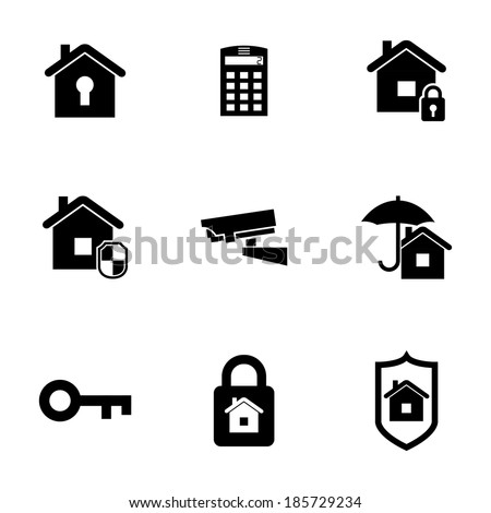 Vector black home security icons set on white background - stock vector
