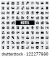 vector black hotel icons set on gray - stock vector