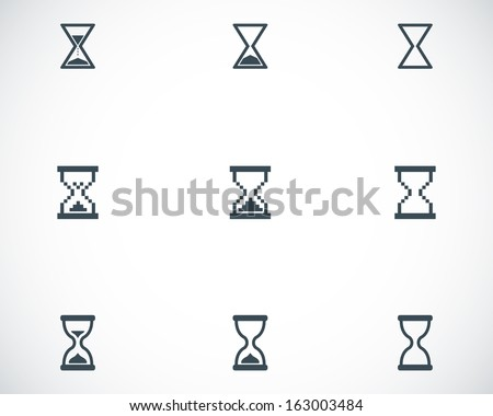 Vector black hourglass icons set - stock vector