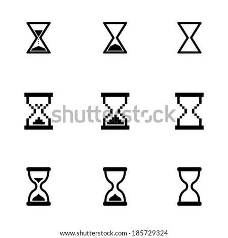 Vector black hourglass icons set on white background - stock vector
