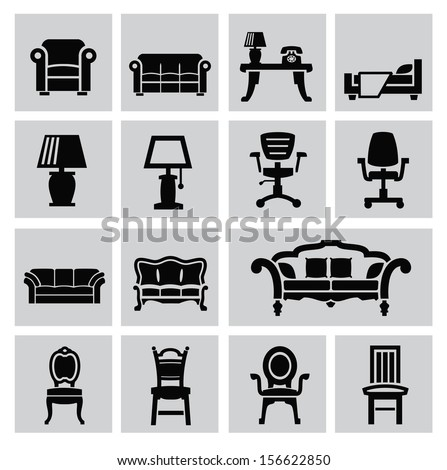 vector black house furniture icon set on gray - stock vector
