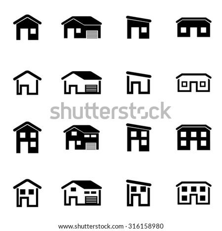 Vector black house icon set. House Icon Object, House Icon Picture, House Icon Image, House Icon Graphic, House Icon JPG, House Icon EPS, House Icon AI - stock vector - stock vector