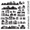 vector black houses icons set on gray - stock photo