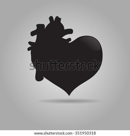 vector black human heart icon. Vector eps 10 - stock vector
