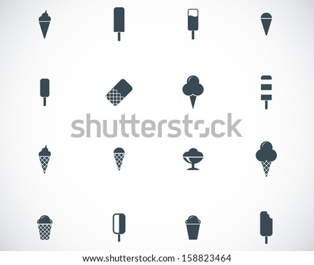 Vector black ice cream icons set - stock vector