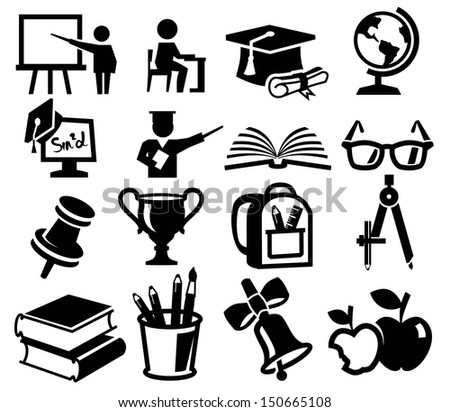 vector black icon set of education on white - stock vector
