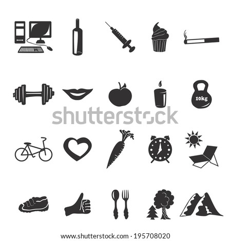Vector black icons health - stock vector