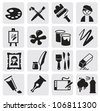 vector black Icons set arts - stock vector