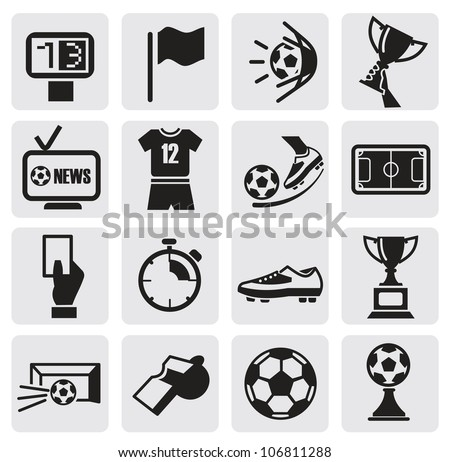 vector black Icons set Soccer - stock vector