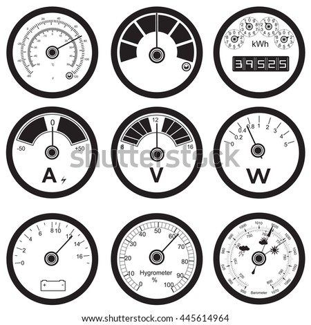 Vector black illustration of different measuring instruments