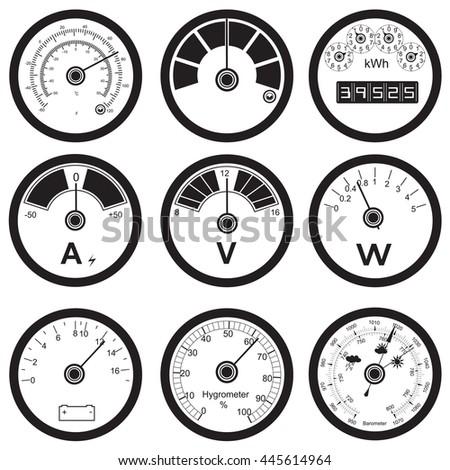 Vector black illustration of different measuring instruments  - stock vector