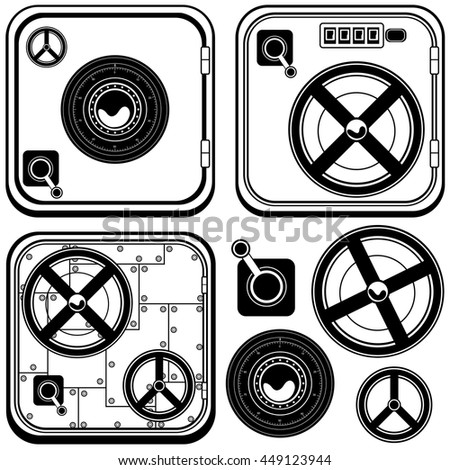Vector black illustration of different safe door icons with elements. - stock vector