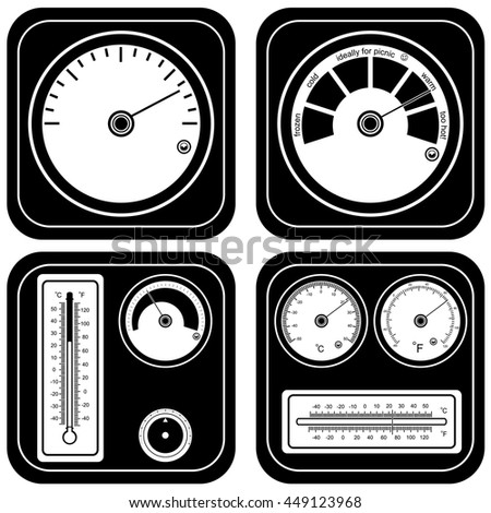 Vector black illustration of different thermometer set. - stock vector