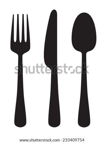 vector black illustration of Knife, fork and spoon on white - stock vector