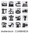vector black industry icons set on gray - stock photo