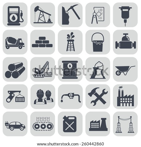 Vector black industry icons set on gray. - stock vector
