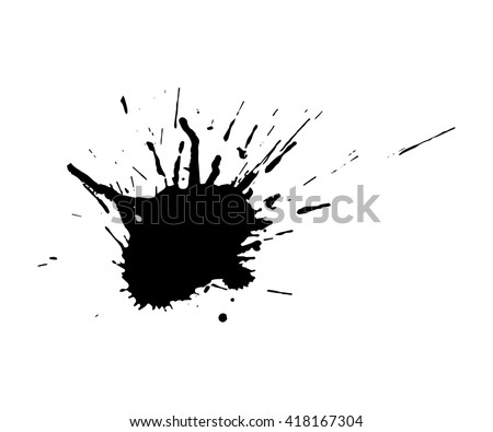 Vector black ink blot isolated on a white background. Grunge texture. - stock vector