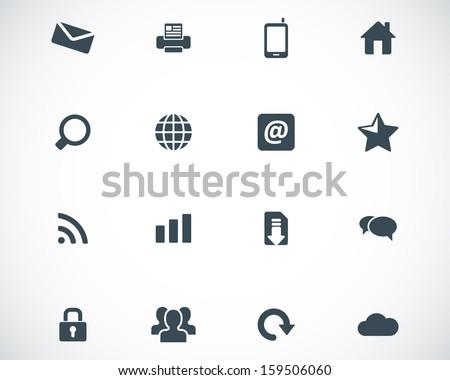 Vector black internet icons set - stock vector