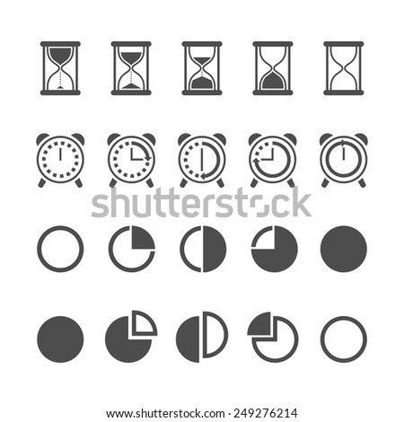 Vector black isolated hourglass icons and clocks set on white background - stock vector