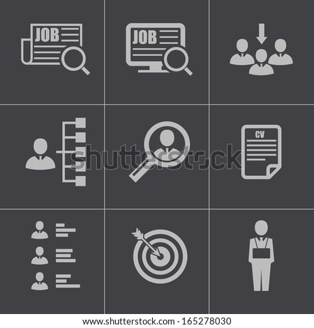 Vector black job search icons set - stock vector