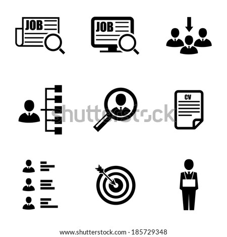 Vector black job search icons set on white background - stock vector