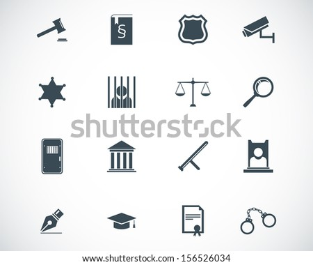 Vector black justice icons set - stock vector