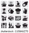 vector black kitchen icons set on gray - stock photo