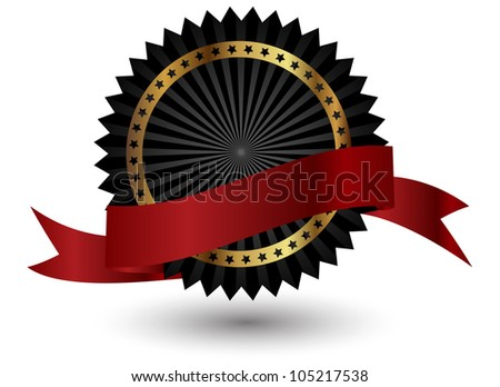 Vector black  label with red ribbon. - stock vector