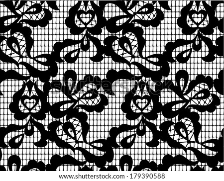 vector black lace seamless pattern on white background - stock vector