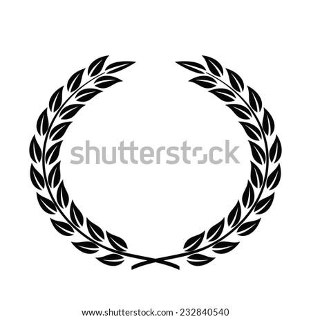 vector black Laurel Wreaths on white background - stock vector
