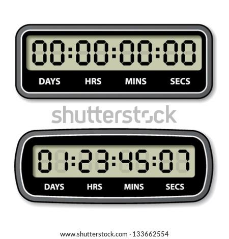 vector black LCD counter - countdown timer - stock vector