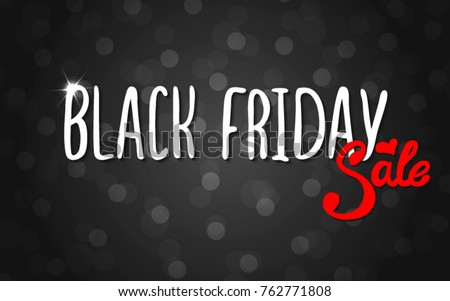 Vector black lettering inscription Black Friday with red word sale on a white background . Hand drawn text. Vector white black abstract background with circles of different size