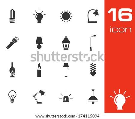 Vector black light icons set on white background - stock vector