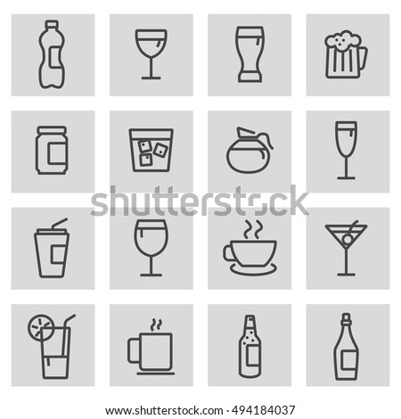 Vector black line drinks icons set on grey background