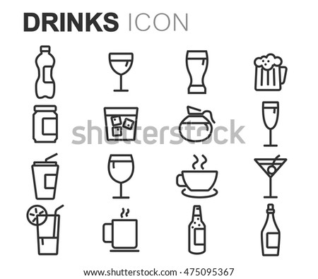 Vector black line drinks icons set on white background