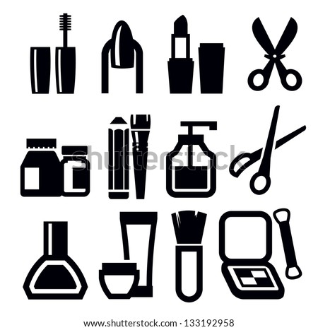 vector black make-up icons set on white - stock vector
