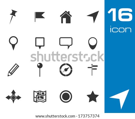 Vector black map icon set on white background - stock vector