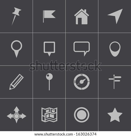 Vector black  map icons set - stock vector