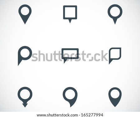 Vector black map pointer icons set - stock vector