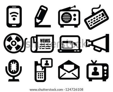 vector black media icons set on gray - stock vector