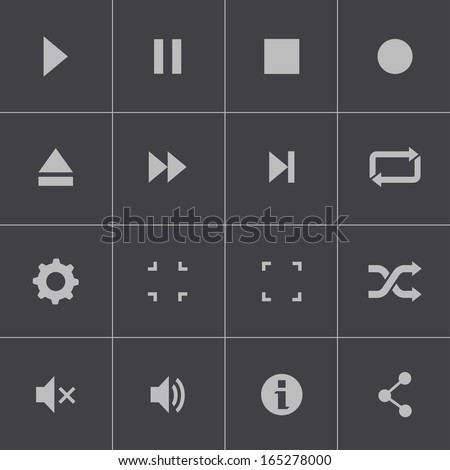 Vector black media player icons set - stock vector