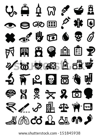 vector black medical icon set on white - stock vector
