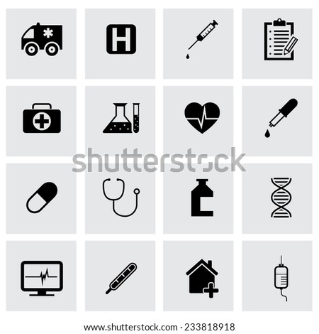 Vector black medical icons set on grey background - stock vector