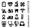 vector black medical icons set on white - stock photo