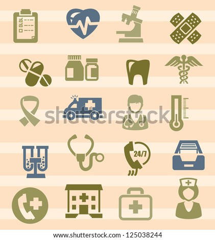 vector black medical icons set on white - stock vector