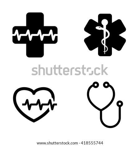 Vector black medical symbol icons set. Emblem for drugstore or medicine, medical sign, symbol of pharmacy, pharmacy snake symbol - stock vector