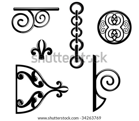 Vector. Black metallic decorations isolated on white background