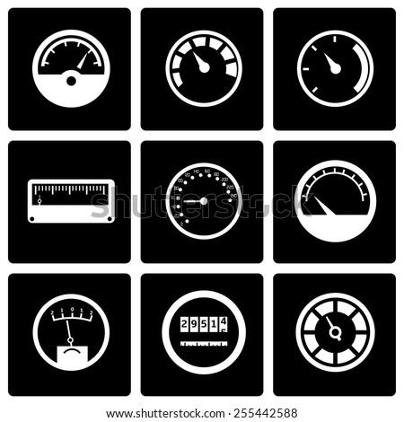 Vector black meter icon set on black background - stock vector