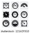 vector black meter icons set on gray - stock vector